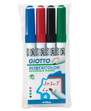 Giotto Robercolour Whiteboard Markers - Assorted Colours 4pk