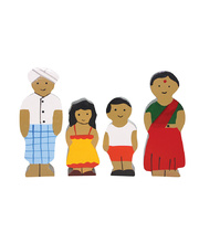 Multicultural Wooden Family Set - Indian 4pcs