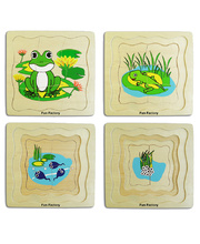 Layered Life Cycle Puzzle - Frog 4 Layers 21pcs 18cm x 18cm