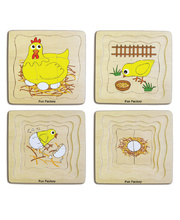 4 Layer Life Cycle Puzzle - Chicken 21pcs 19cm x 18cm