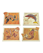 Indigenous Art Water Animal Puzzles - Set of 4 (With Free Poster Kit)
