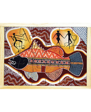 Aboriginal Art Style Puzzle - How The Barramundi Got Spikes 18pcs