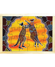 Aboriginal Art Style Puzzle - How The Kangaroo Got His Tail 18pcs