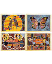 "Aboriginal Art Style Puzzle - ""HOW THE"" Series Set of 4"