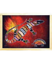 Aboriginal Art Style Puzzle - The Goanna And His Stripes 18pcs