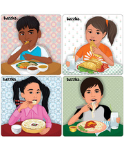 Tuzzles Multicultural Meals Raised Puzzles - Set of 4