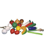 Santoys Wooden Timber Vegetables - 18pce