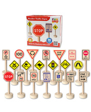 Wooden Traffic Signs - 20pcs 10cmH