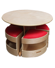 Billy Kidz Round Wooden Table - with 4 Red Padded Stools