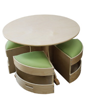Billy Kidz Round Wooden Table - with 4 Green Padded Stools