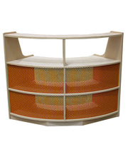 Billy Kidz Birch Medium Shelf Unit 76cmH - Curved with Orange Steel Mesh Back