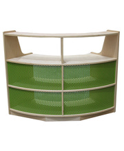 Billy Kidz Birch Medium Shelf Unit 76cmH - Curved with Green Steel Mesh Back
