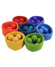 Felt Rainbow Bowls & Balls - Set of 7