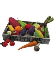 Felt Fruit & Vegetable Set - With Wooden Tray