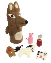 Felt Hand & Finger Puppet Set - Gingerbread Man & Fox