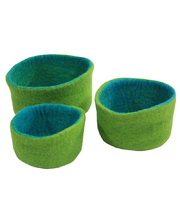 Natural Felt Bowls - Blue/Green 3pcs