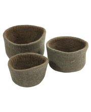 Natural Felt Bowls - Natural 3pcs
