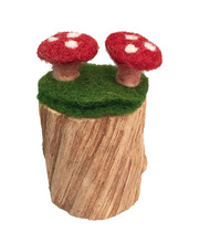 Felt Toadstool Stump - 6 x 6 x 8cmH