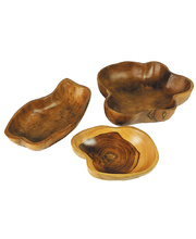 Natural Teak Hand Carved Wooden Round Bowls - 3pcs