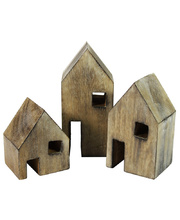 Natural Wooden Block House - Set of 3