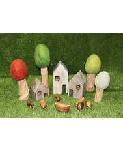 Natural Wooden Houses, Trees & Animals Set - 14pcs