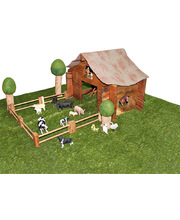 Wooden Barn House, Trees & Collecta Farm Animals Set of 24