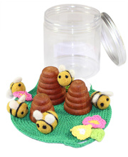 Bees Family Play Set - In Portable Play Jar 9pcs