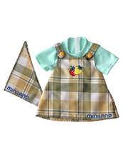 *Doll Clothes for 32cm Doll - Checked Pinafore, T-Shirt & Scarf