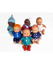Baby Dolls & Clothes 21cm - Set of 6 (3 Boys & 3 Girls)