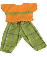Doll Clothes for 38cm Doll - Orange Top & Green Checked Pants