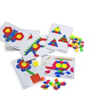 Wooden Pattern Blocks and Picture Card Set - 270pcs