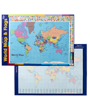 Gillian Miles Poster - World Map & Flags