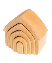 Grimm's Stacking House - Natural Wooden 5pcs