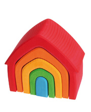 Grimm's Stacking House - Rainbow Coloured 5pcs