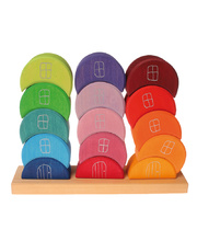 Grimm's Stacking Moon Houses - Coloured 15pcs