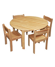 Home Corner Timber Table & Chair Set - Circle with 4 Chairs