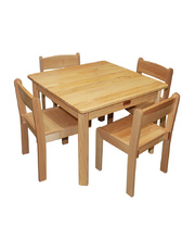 Home Corner Timber Table & Chair Set - Square with 4 Chairs