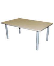 Billy Kidz Rectangle Table 1200 x 750mm Birch - Adjustable Light Grey Legs
