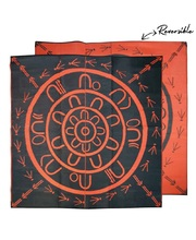 "Recycled Large Mat Aboriginal Design - ""Yarning Circle"" Orange/Black"