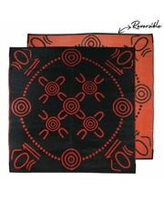 "Recycled Small Mat Aboriginal Design - ""Gatherings"" Black/Orange"