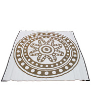"Recycled Large Mat Aboriginal Design - ""Circle Time"" Bronze/White"
