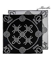 "Recycled Small Mat Aboriginal Design - ""Gatherings"" Black/White"