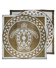 "Recycled Large Mat Torres Strait Island Design - ""Turtle Circle"" Bronze/White"