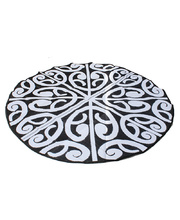 "Recycled Large Round Mat New Zealand Design - ""Korero"" Black/White"