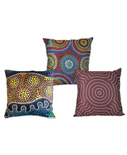 Outdoor Aboriginal Design Cushion Cover & Insert - Set of 3