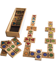 Geo Wooden Dominoes - 22 x 4 x 7cm 28pcs