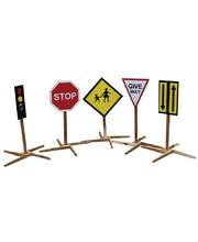 Wooden Child Size Traffic Signs - Set of 5