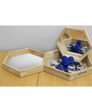 Wooden Mirror Trays - Hexagonal 3pcs