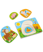 Haba Wooden Layer Puzzle - Fun On The Farm 4pcs