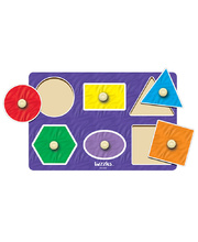 Tuzzles 6 Geo Shapes Peg Puzzle - 6pcs